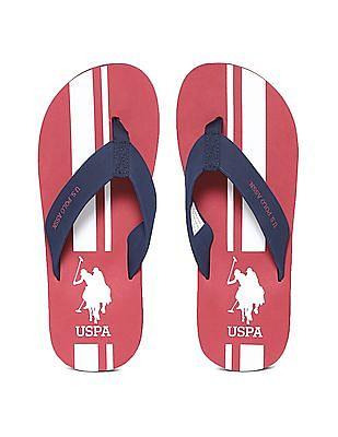 U.S. Polo Assn. V-Strap Striped Flip Flop