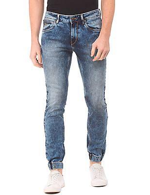 Flying Machine Mid Rise Acid Wash Jogger Jeans