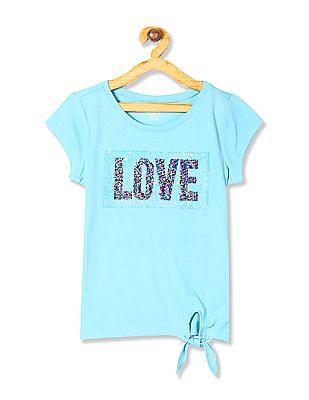 The Children's Place Blue Girls Short Sleeve Flip Sequin 'Love' Graphic Side Tie Top