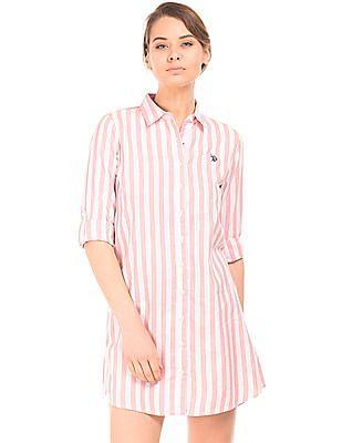 U.S. Polo Assn. Women Awning Stripe Shirt Dress