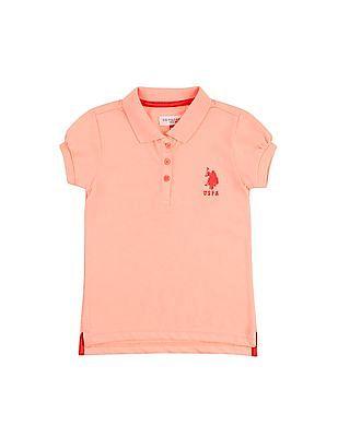 U.S. Polo Assn. Kids Girls Solid Regular Fit Polo Shirt