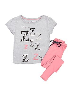 Cherokee Girls Cotton Top And Track Pants Set