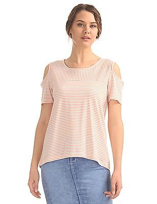 SUGR Striped Cold Shoulder Top