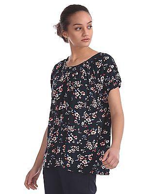 U.S. Polo Assn. Women Puff Sleeve Floral Print Top