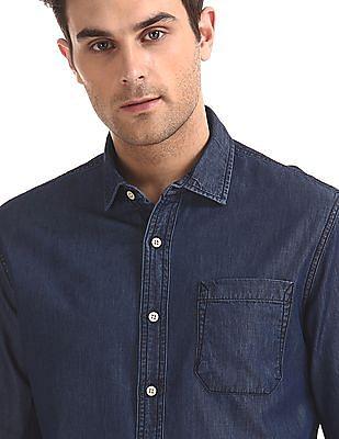 Cherokee Semi Cutaway Collar Chambray Shirt