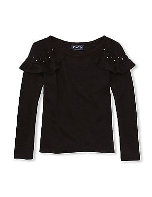 The Children's Place Girls Studded Ruffled Knit Sweater