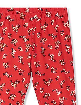 Cherokee Girls Floral Print Cotton Stretch Leggings