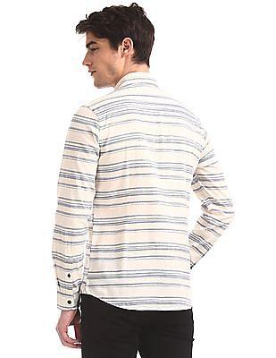 U.S. Polo Assn. Denim Co. White Button Down Collar Striped Shirt