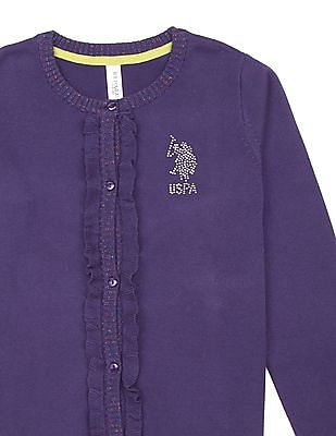 U.S. Polo Assn. Kids Girls Ruffled Placket Embellished Cardigan