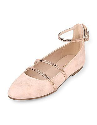 The Children's Place Girls Metallic Ankle Strap Ballet Flats