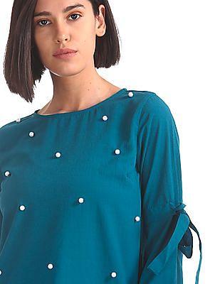 Elle Studio Embellished Front Woven Top