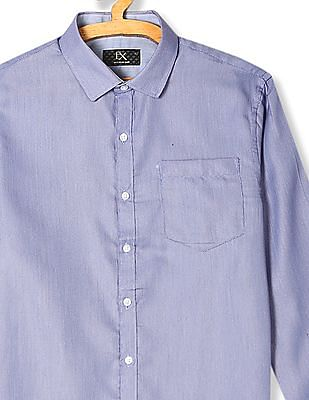 Excalibur Blue Regular Fit Patterned Weave Shirt