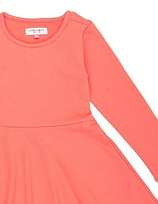 U.S. Polo Assn. Kids Girls Textured Knit Skater Dress