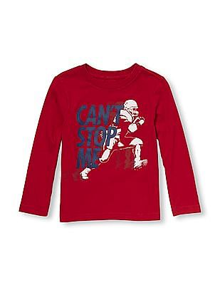 The Children's Place Toddler Boy Red Long Sleeve 'Can't Stop Me' Football Player Graphic Tee