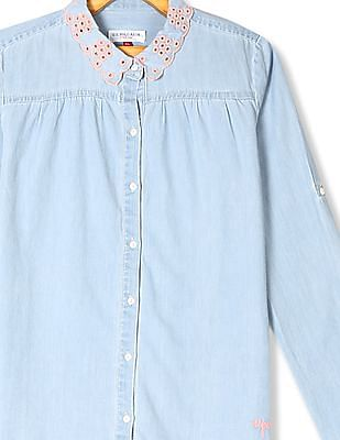 U.S. Polo Assn. Kids Blue Girls Hakoba Collar Chambray Shirt