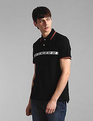 GAP Black Stretch Taped Logo Polo