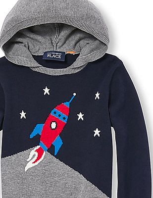 The Children's Place Toddler Boy Blue Long Sleeve Rocket Ship Hooded Sweater