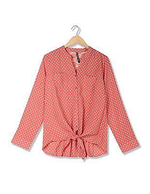 Flying Machine Women Mandarin Collar Polka Dot Print Lace Top