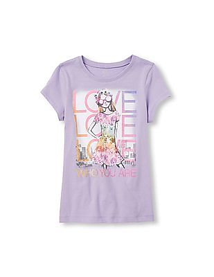 The Children's Place Girls Short Sleeve 'Love Who You Are' Graphic Tee