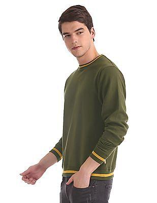 Flying Machine Green Crew Neck Stripe Trim Sweatshirt