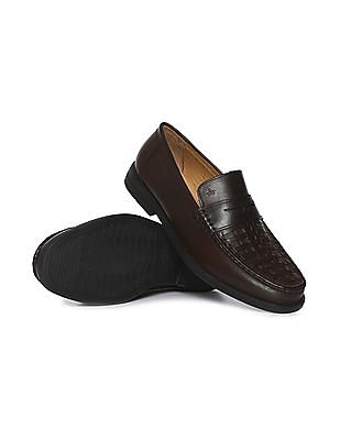 Arrow Woven Stitch Penny Loafers