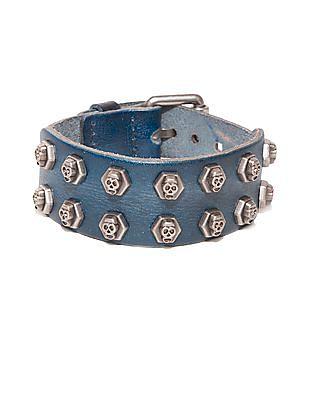 Ed Hardy Skull Stud Leather Bracelet