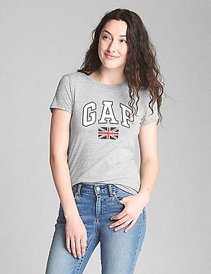 GAP Women Grey Logo Short Sleeve Crew Neck T-Shirt