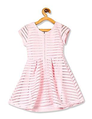 The Children's Place Girls Short Cap Sleeve Stripe Jacquard Mesh Flare Dress