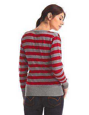 Flying Machine V-Neck Striped Sweater