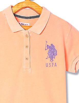 U.S. Polo Assn. Kids Girls Cotton Pique Polo Shirt