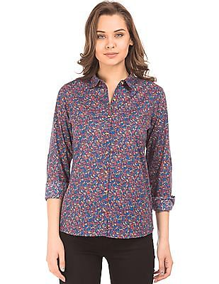 U.S. Polo Assn. Women Regular Fit Printed Shirt