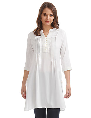 Karigari Mandarin Neck Mock Placket Kurta