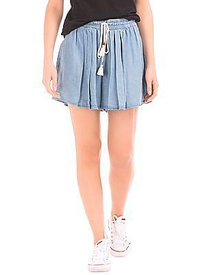 GAP Women Blue Tencel High Rise Pleat Shorts