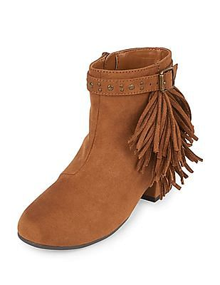 The Children's Place Girls Faux Suede Fringe Annie Bootie