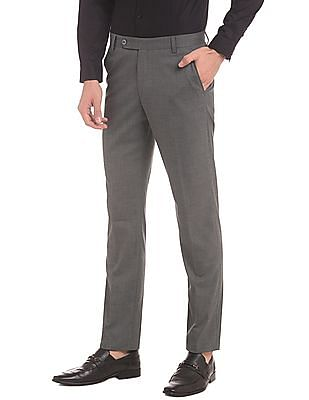 True Blue Flat Front Heathered Trousers