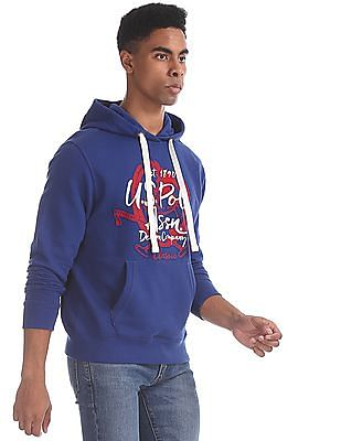 U.S. Polo Assn. Blue Printed Hooded Sweatshirt