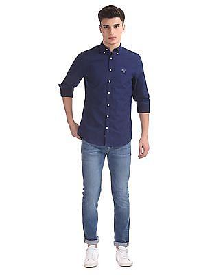 Gant Indigo Dot Print Broadcloth Regular Button Down Shirt