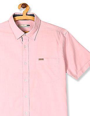 Flying Machine Pink Spread Collar Slub Cotton Shirt
