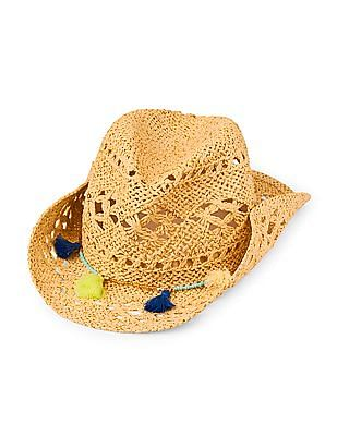The Children's Place Girls Tasselled Open Weave Cowgirl Hat