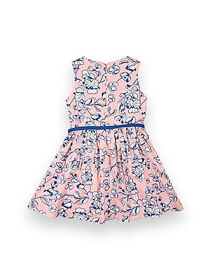 U.S. Polo Assn. Kids Girls Floral Print Belted Fit And Flare Dress
