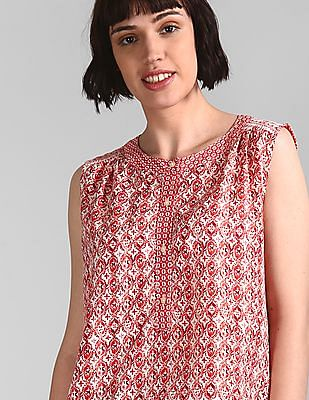 GAP Red Sleeveless Mix-Print Popover Shirt