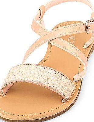 The Children's Place Girls Pink Glitter Strap Sandals