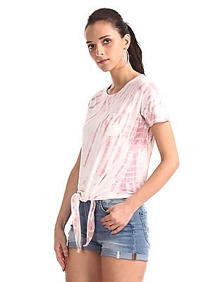 Aeropostale Pink Drop Shoulder Tie-And-Dye Top