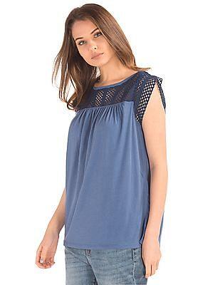 GAP Women Blue Crochet Lace Top