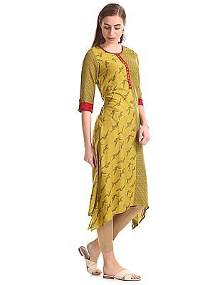 Anahi Green Round Neck Combination Print Kurta