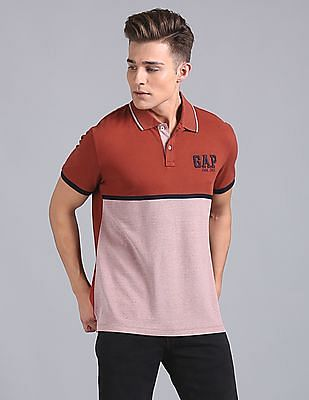 GAP Color Block Tipped Polo Shirt