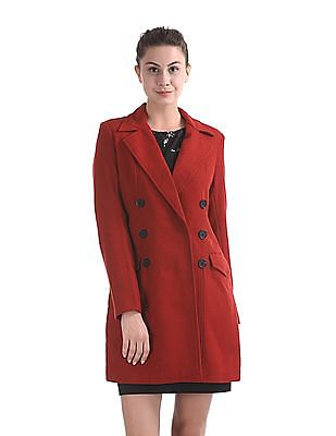 Elle Studio Double Breasted Wool Trench Coat