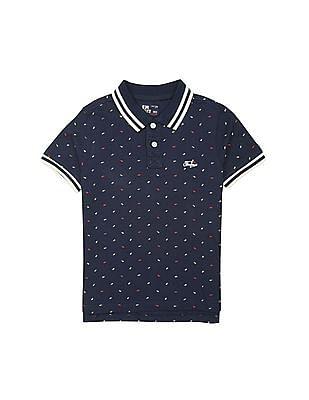 FM Boys Boys Printed Cotton Polo Shirt