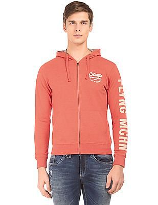 Flying Machine Heathered Zip Up Hooded Sweatshirt
