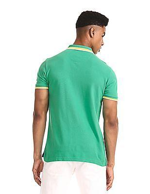 U.S. Polo Assn. Green Tipped Pique Polo Shirt